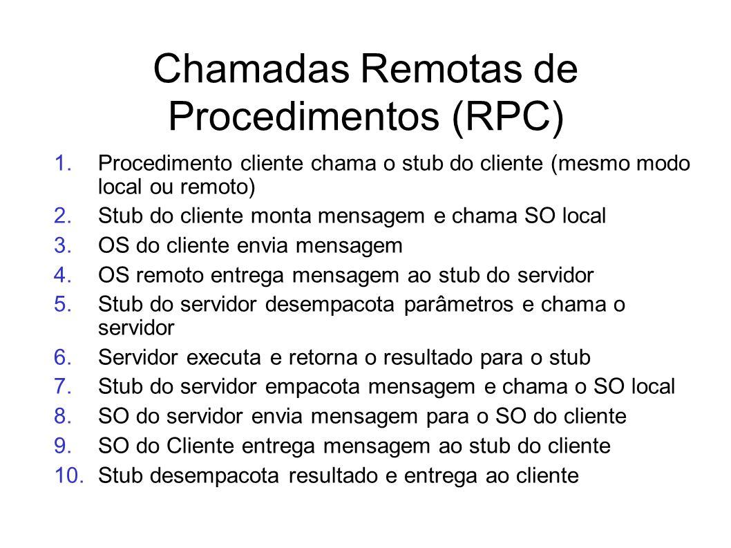 1.Procedimento cliente chama o stub do cliente (mesmo modo local ou remoto) 2.Stub do cliente monta mensagem e chama SO local 3.OS do cliente envia me