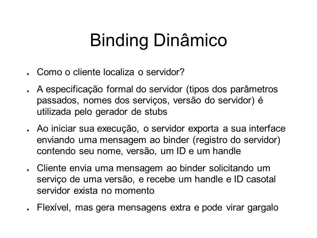 Binding Dinâmico Como o cliente localiza o servidor? A especificação formal do servidor (tipos dos parâmetros passados, nomes dos serviços, versão do