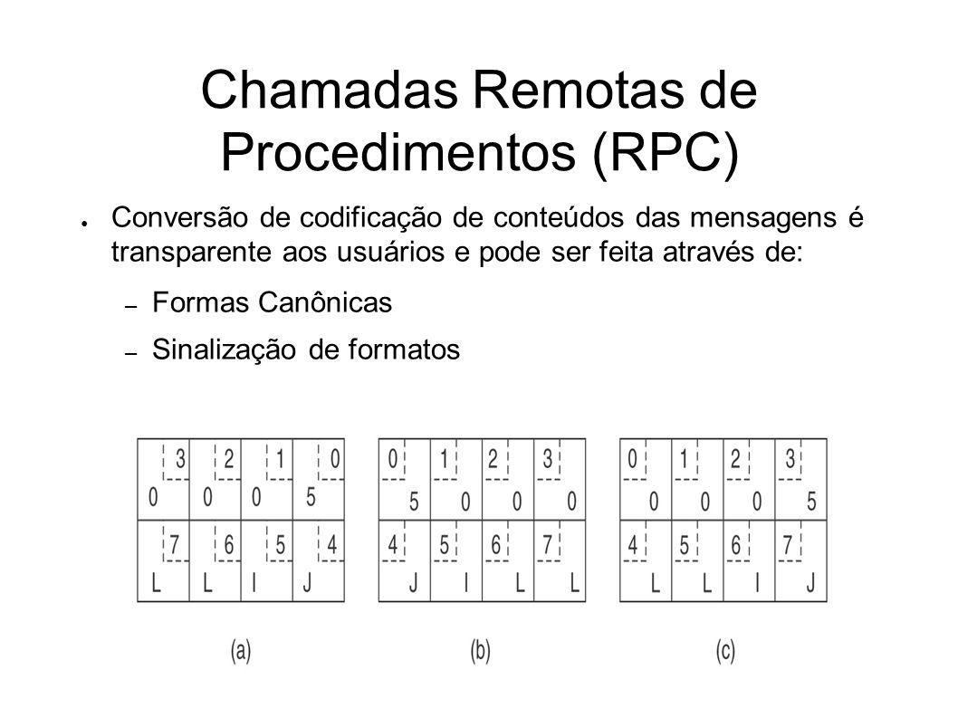 Chamadas Remotas de Procedimentos (RPC) Conversão de codificação de conteúdos das mensagens é transparente aos usuários e pode ser feita através de: – Formas Canônicas – Sinalização de formatos