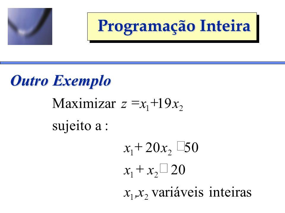 Programação Inteira Outro Exemplo inteiras variáveis 20 5020 :asujeito 19Maximizar 21 21 21 21 x,x xx xx xxz
