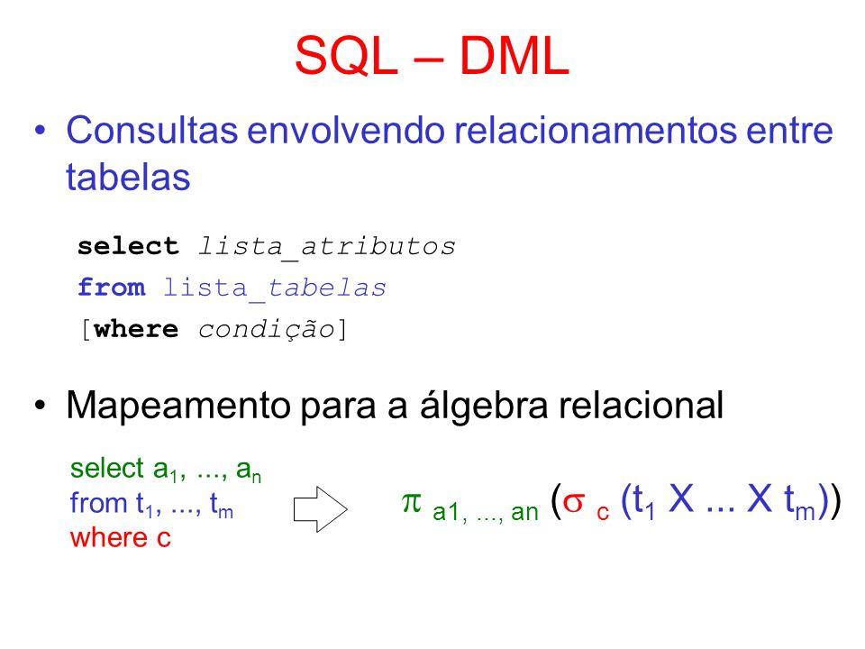 SQL – DML Consultas envolvendo relacionamentos entre tabelas select lista_atributos from lista_tabelas [where condição] Mapeamento para a álgebra rela