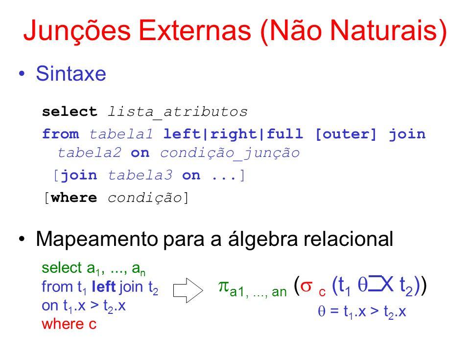 Junções Externas (Não Naturais) Sintaxe select lista_atributos from tabela1 left|right|full [outer] join tabela2 on condição_junção [join tabela3 on..