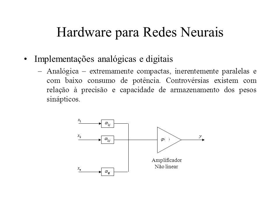 Hardware para Redes Neurais Implementações analógicas e digitais –Analógica – extremamente compactas, inerentemente paralelas e com baixo consumo de p
