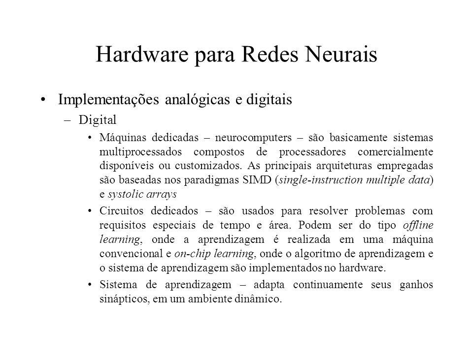 Hardware para Redes Neurais Implementações analógicas e digitais –Digital Máquinas dedicadas – neurocomputers – são basicamente sistemas multiprocessa
