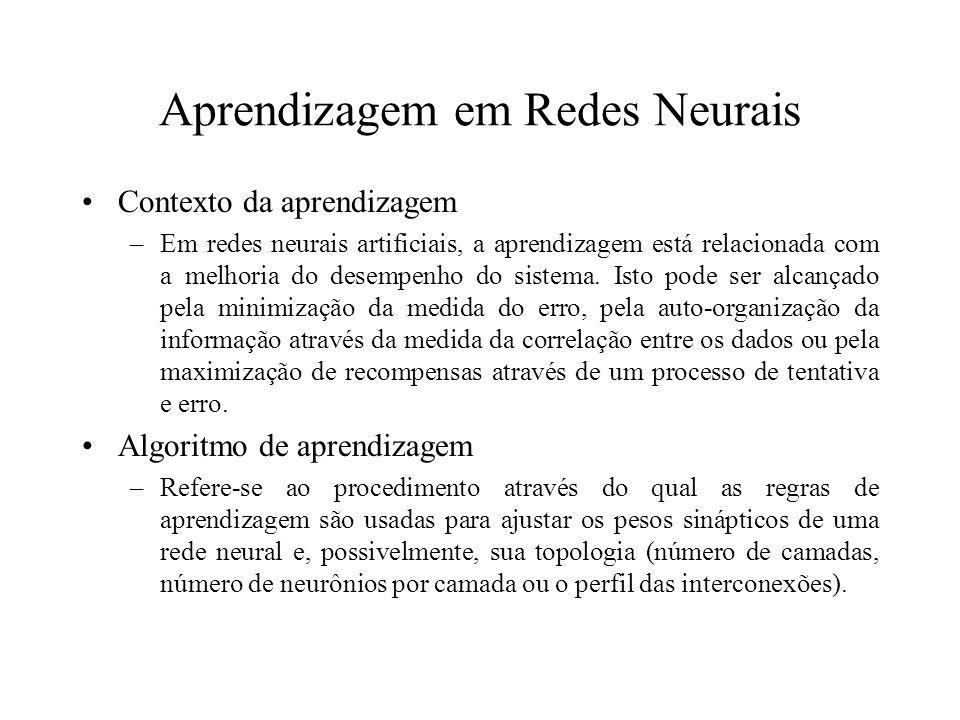 Aprendizagem em Redes Neurais Contexto da aprendizagem –Em redes neurais artificiais, a aprendizagem está relacionada com a melhoria do desempenho do