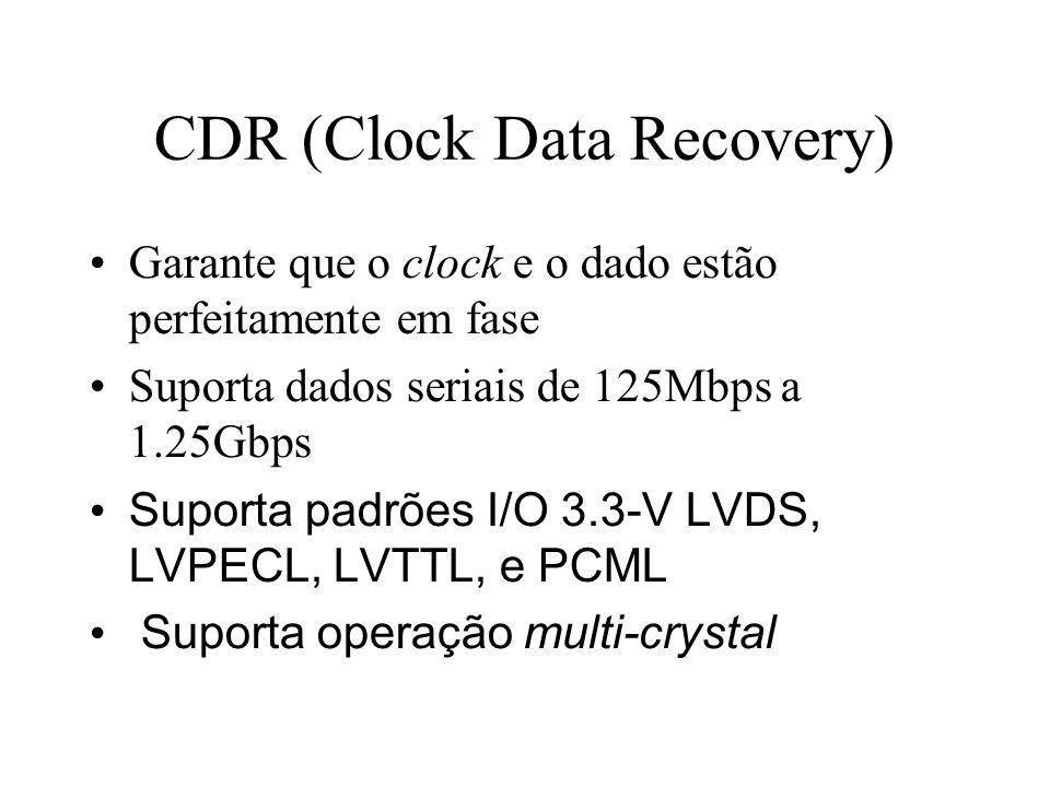 CDR (Clock Data Recovery) Garante que o clock e o dado estão perfeitamente em fase Suporta dados seriais de 125Mbps a 1.25Gbps Suporta padrões I/O 3.3-V LVDS, LVPECL, LVTTL, e PCML Suporta operação multi-crystal