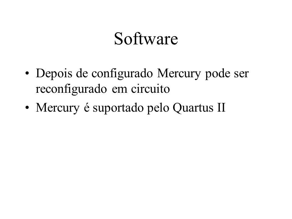 Software Depois de configurado Mercury pode ser reconfigurado em circuito Mercury é suportado pelo Quartus II