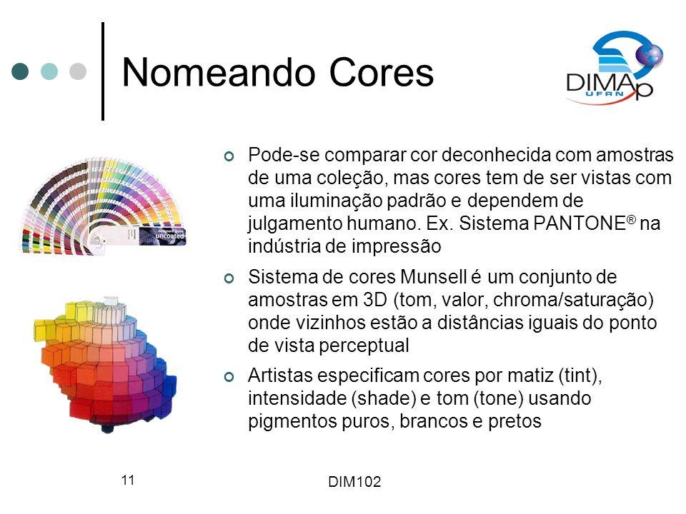DIM102 11 Nomeando Cores Pode-se comparar cor deconhecida com amostras de uma coleção, mas cores tem de ser vistas com uma iluminação padrão e depende
