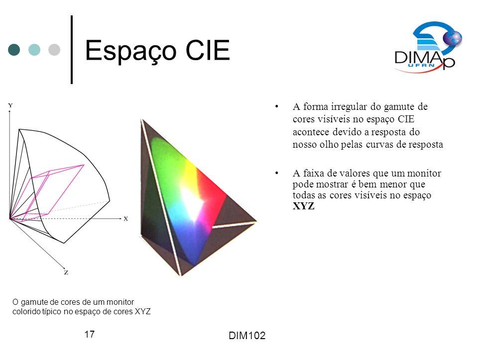DIM102 17 Espaço CIE A forma irregular do gamute de cores visíveis no espaço CIE acontece devido a resposta do nosso olho pelas curvas de resposta A f