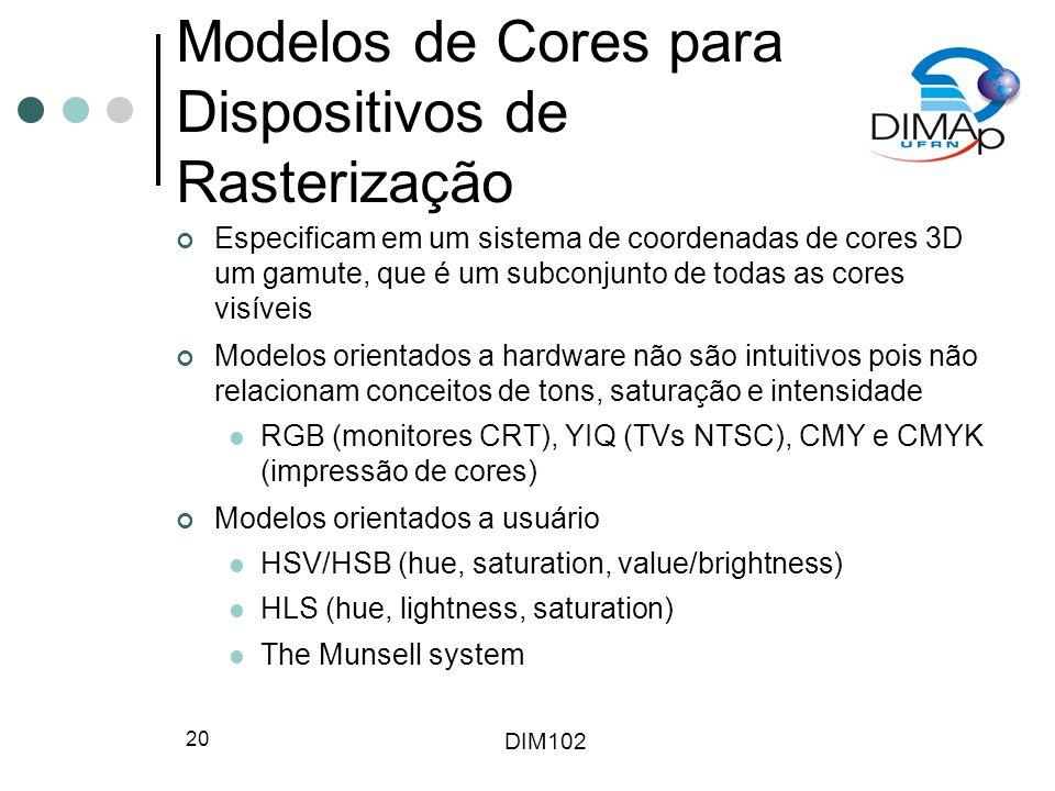 DIM102 20 Modelos de Cores para Dispositivos de Rasterização Especificam em um sistema de coordenadas de cores 3D um gamute, que é um subconjunto de t