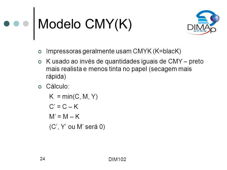 DIM102 24 Modelo CMY(K) Impressoras geralmente usam CMYK (K=blacK) K usado ao invés de quantidades iguais de CMY – preto mais realista e menos tinta n