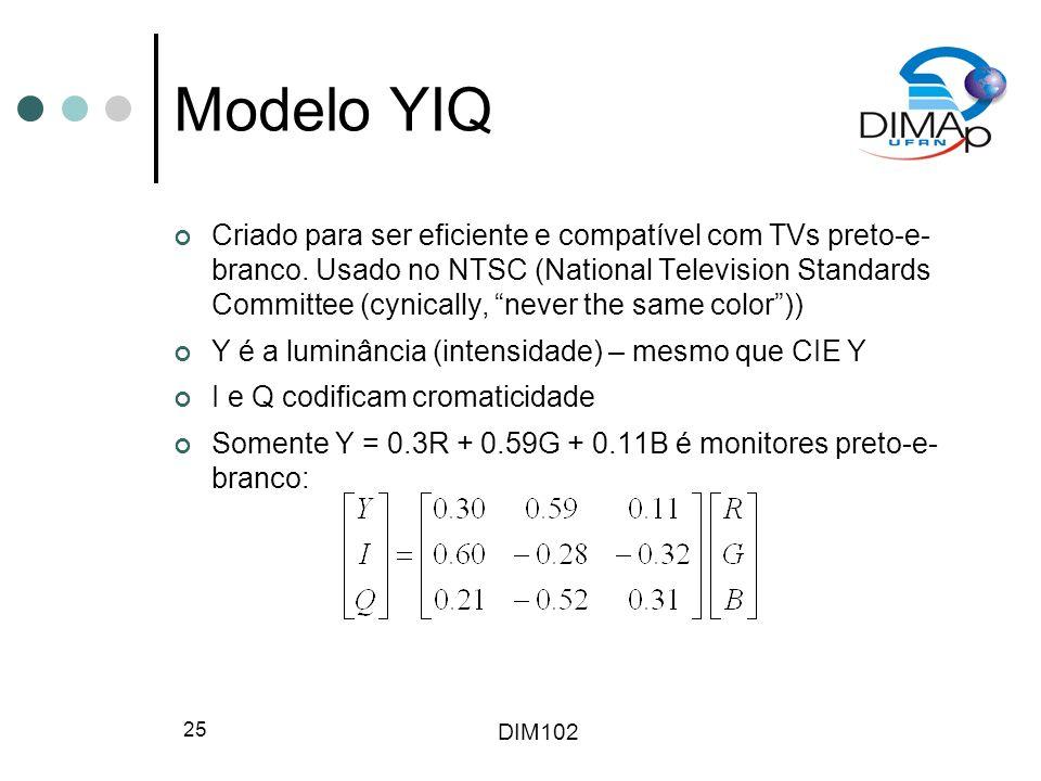 DIM102 25 Modelo YIQ Criado para ser eficiente e compatível com TVs preto-e- branco. Usado no NTSC (National Television Standards Committee (cynically