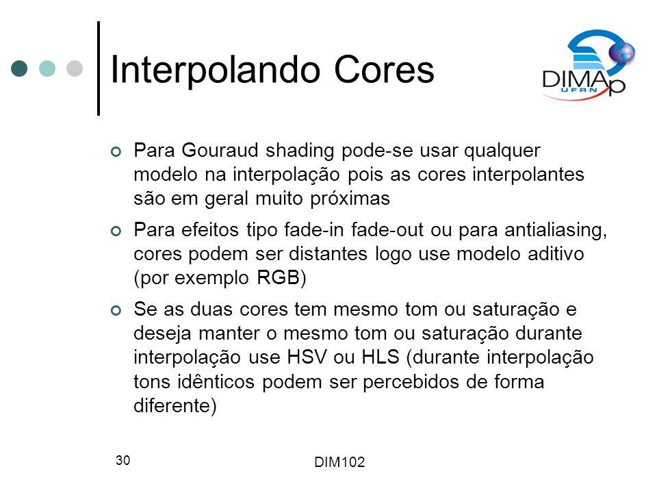 DIM102 30 Interpolando Cores Para Gouraud shading pode-se usar qualquer modelo na interpolação pois as cores interpolantes são em geral muito próximas