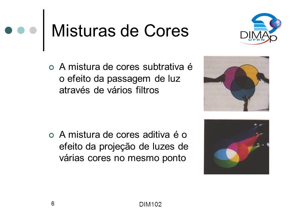 DIM102 27 Modelo HLS Hue, Lightness, Saturation Cone hexagonal duplo Pigmentos puros estão localizados em S = 1, L = 0.5 Conceitualmente mais fácil para algumas pessoas ver branco como um ponto fora do plano mencionado acima