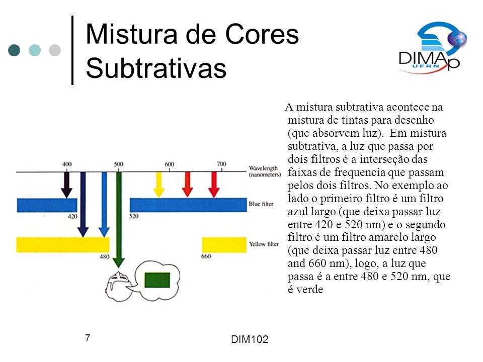 DIM102 8 Mistura de Cores Aditivas A mistura aditiva é usada em projetores, e luz que passa por dois ou mais filtros (ou refletida por dois ou mais pigmentos) atinge a mesma região da retina ao mesmo tempo.