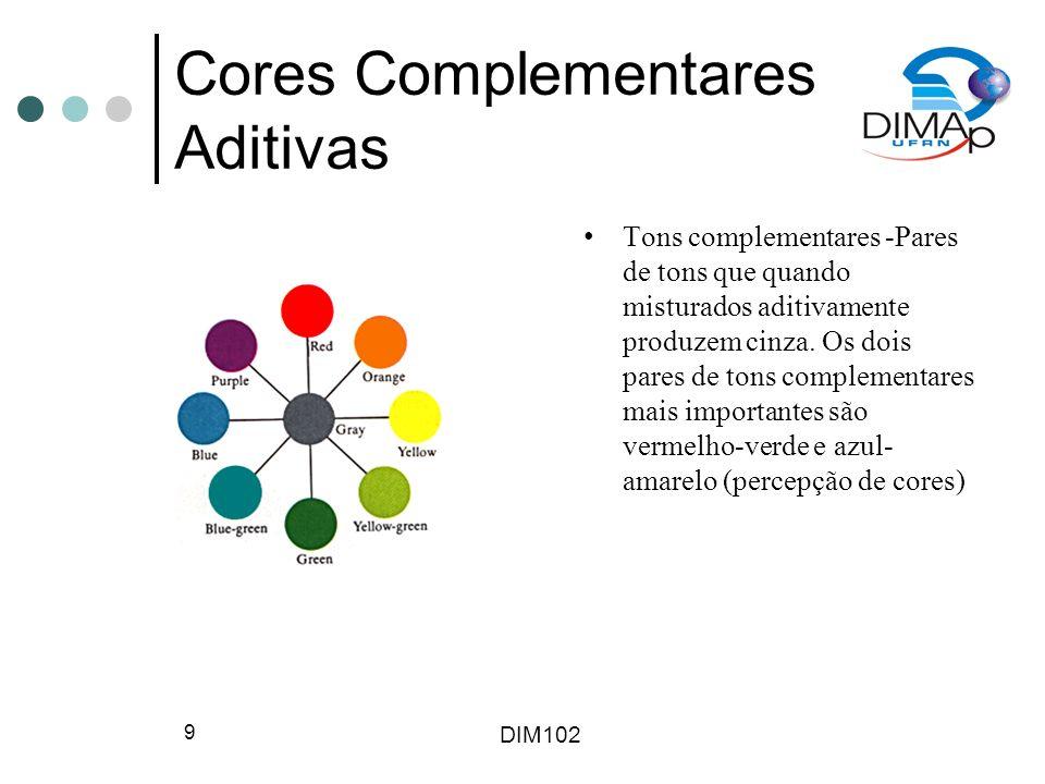 DIM102 9 Cores Complementares Aditivas Tons complementares -Pares de tons que quando misturados aditivamente produzem cinza. Os dois pares de tons com