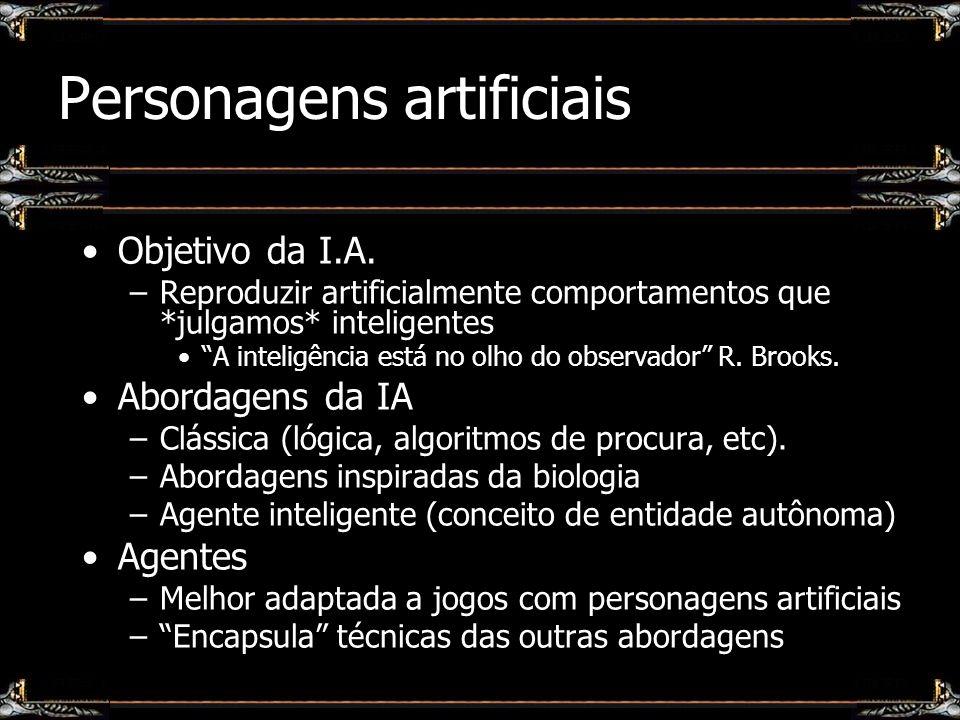 Agentes inteligentes Conceito de entidade artificial capaz de reproduzir padrões de: –Autonomia, Reatividade, Sociabilidade, etc.