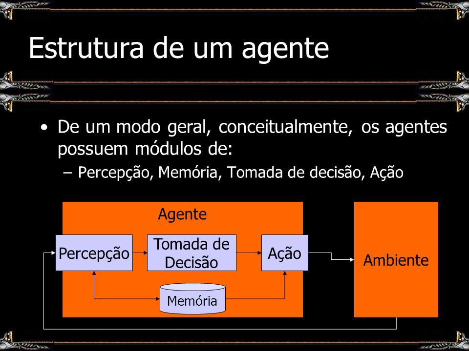 Definição da arquitetura Cognitivos / deliberativos –Exemplo: BDI (Belief, Desire, Intentions) Reativos –Exemplo: Subsumption Híbridos –Exemplo: Em camadas Ação Camada 1 Camada n … Percepção Camadas de comportamento