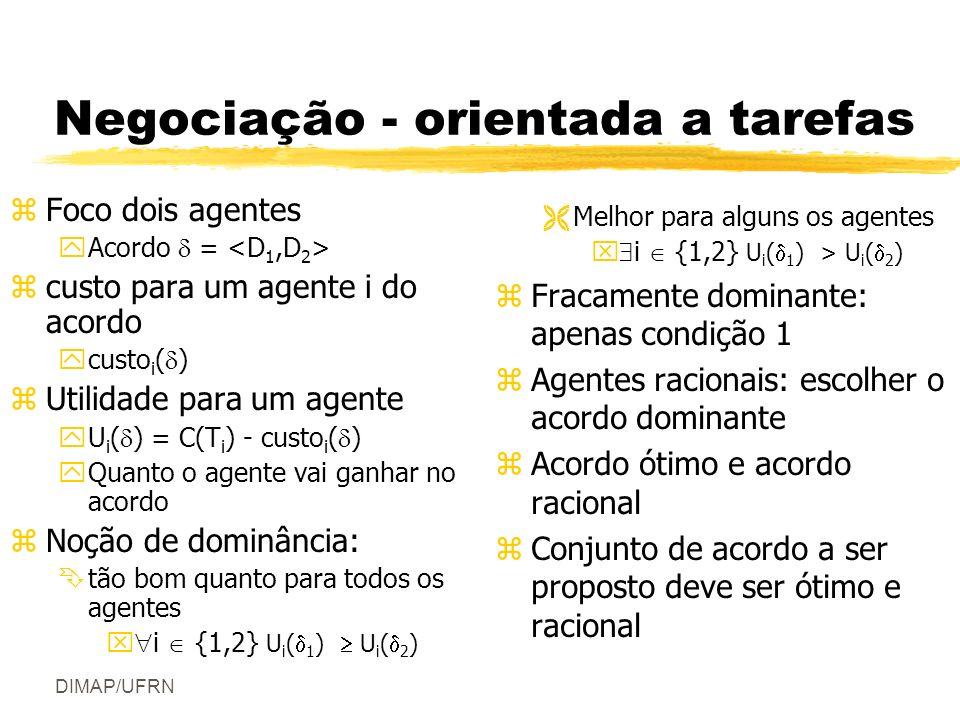 DIMAP/UFRN Negociação - orientada a tarefas zFoco dois agentes yAcordo = zcusto para um agente i do acordo ycusto i ( ) zUtilidade para um agente yU i ( ) = C(T i ) - custo i ( ) yQuanto o agente vai ganhar no acordo zNoção de dominância: Êtão bom quanto para todos os agentes x i {1,2} U i ( 1 ) U i ( 2 ) ËMelhor para alguns os agentes x i {1,2} U i ( 1 ) > U i ( 2 ) z Fracamente dominante: apenas condição 1 z Agentes racionais: escolher o acordo dominante z Acordo ótimo e acordo racional z Conjunto de acordo a ser proposto deve ser ótimo e racional