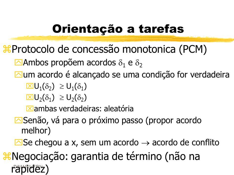 DIMAP/UFRN Orientação a tarefas zProtocolo de concessão monotonica (PCM) yAmbos propõem acordos 1 e 2 yum acordo é alcançado se uma condição for verdadeira xU 1 ( 2 ) U 1 ( 1 ) xU 2 ( 1 ) U 2 ( 2 ) xambas verdadeiras: aleatória ySenão, vá para o próximo passo (propor acordo melhor) ySe chegou a x, sem um acordo acordo de conflito zNegociação: garantia de término (não na rapidez)