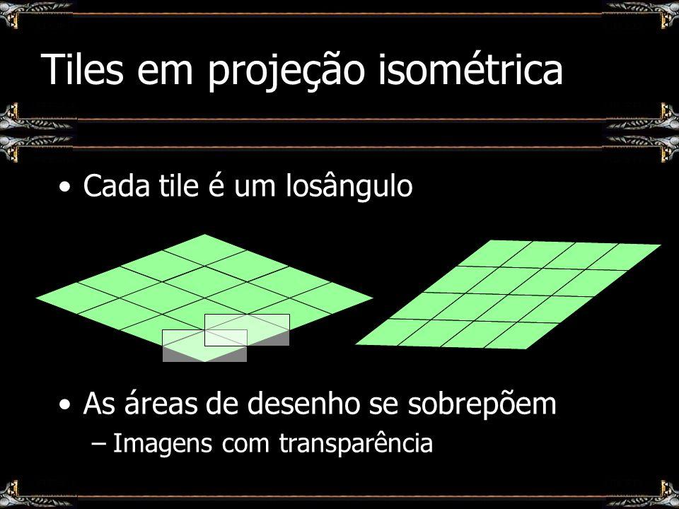 Tiles em projeção isométrica Cada tile é um losângulo As áreas de desenho se sobrepõem –Imagens com transparência