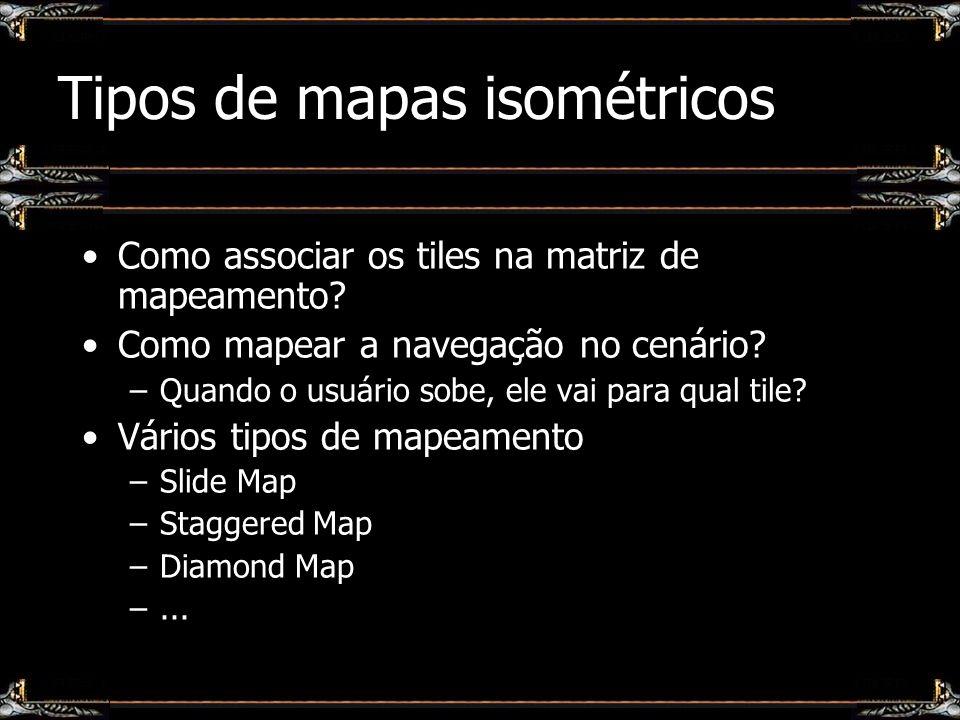 Tipos de mapas isométricos Como associar os tiles na matriz de mapeamento? Como mapear a navegação no cenário? –Quando o usuário sobe, ele vai para qu