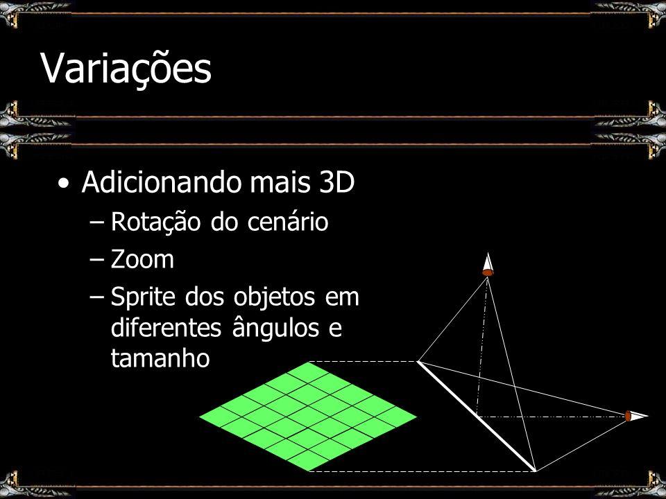 Variações Adicionando mais 3D –Rotação do cenário –Zoom –Sprite dos objetos em diferentes ângulos e tamanho