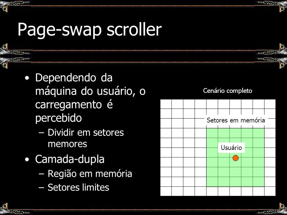 Page-swap scroller Dependendo da máquina do usuário, o carregamento é percebido –Dividir em setores memores Camada-dupla –Região em memória –Setores l