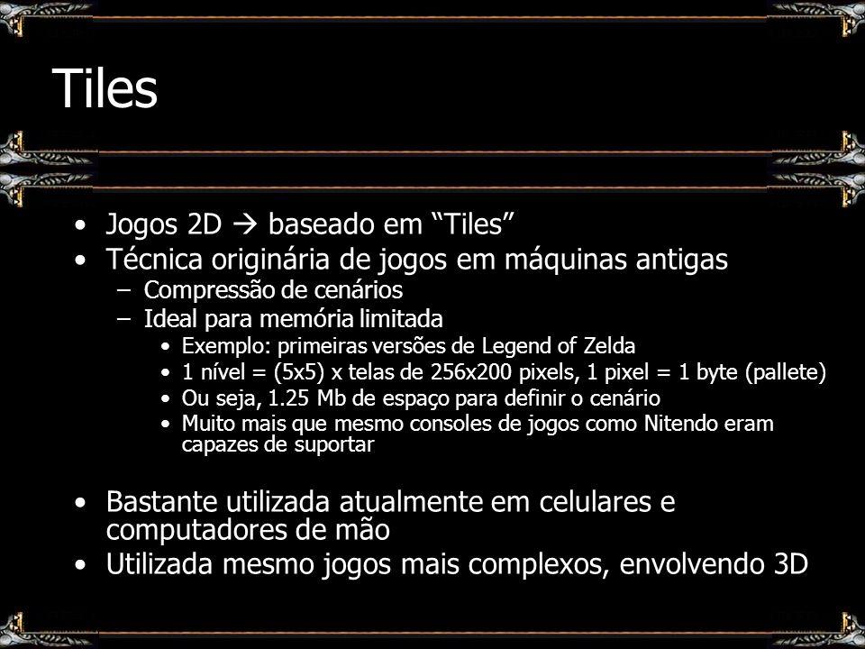 Tiles Jogos 2D baseado em Tiles Técnica originária de jogos em máquinas antigas –Compressão de cenários –Ideal para memória limitada Exemplo: primeira