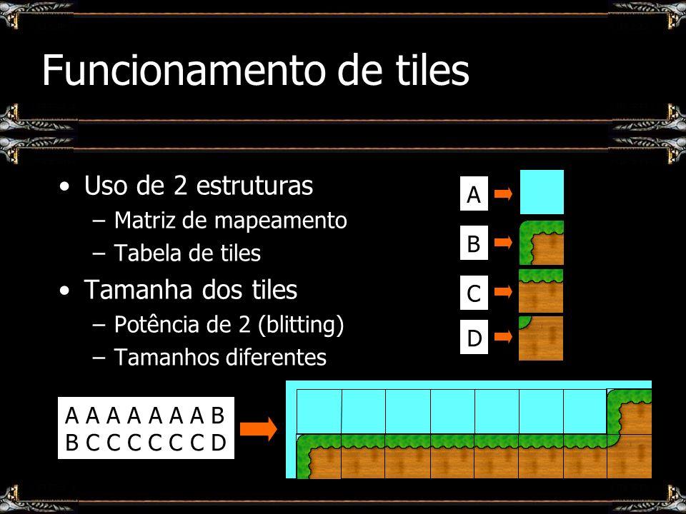 Funcionamento de tiles Uso de 2 estruturas –Matriz de mapeamento –Tabela de tiles Tamanha dos tiles –Potência de 2 (blitting) –Tamanhos diferentes A A