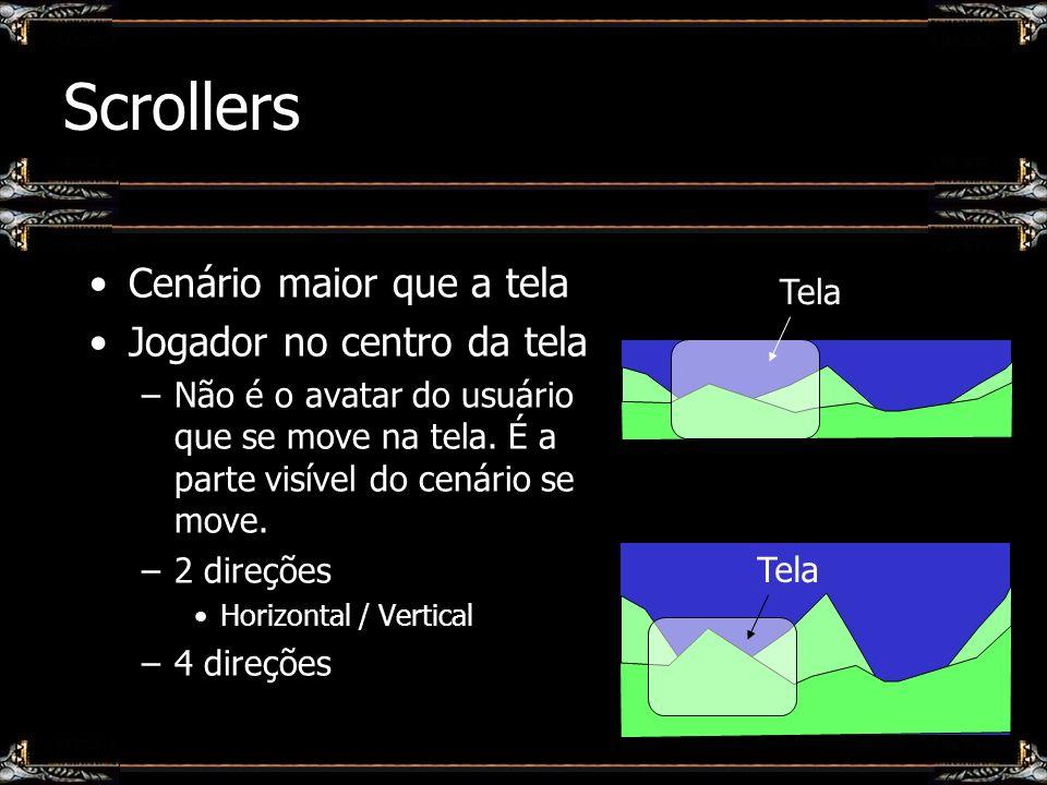 Scrollers Cenário maior que a tela Jogador no centro da tela –Não é o avatar do usuário que se move na tela. É a parte visível do cenário se move. –2