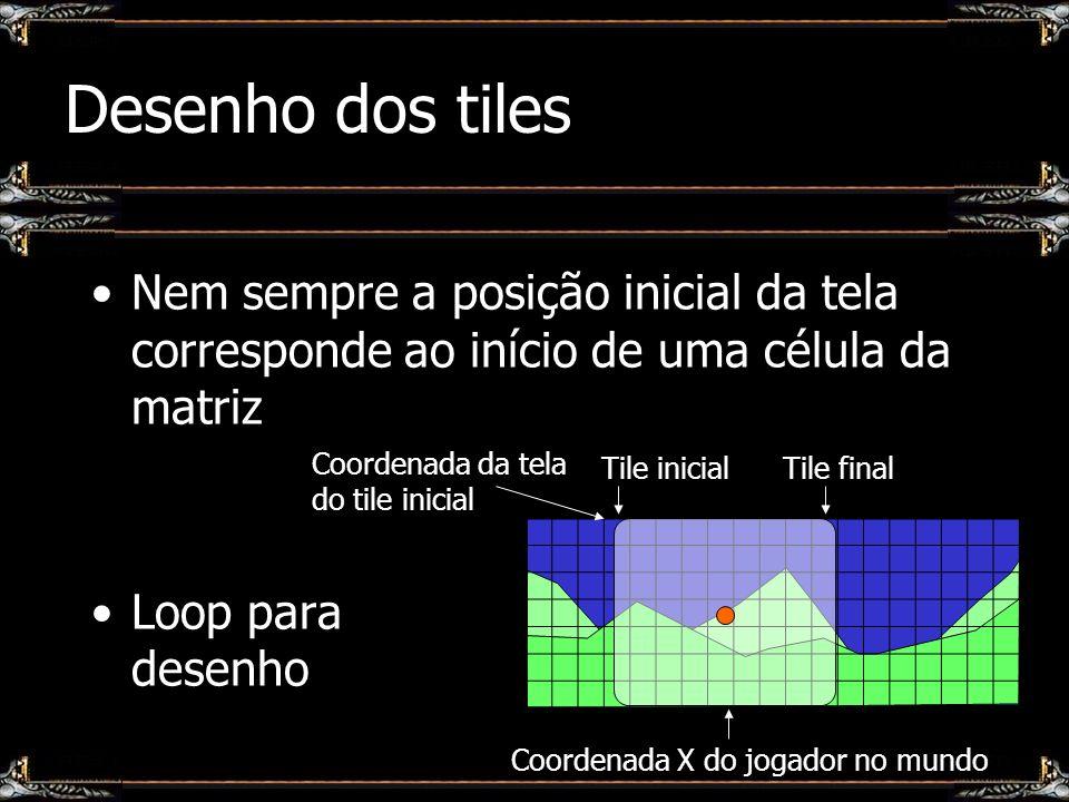 Desenho dos tiles Nem sempre a posição inicial da tela corresponde ao início de uma célula da matriz Loop para desenho Tile inicialTile final Coordena