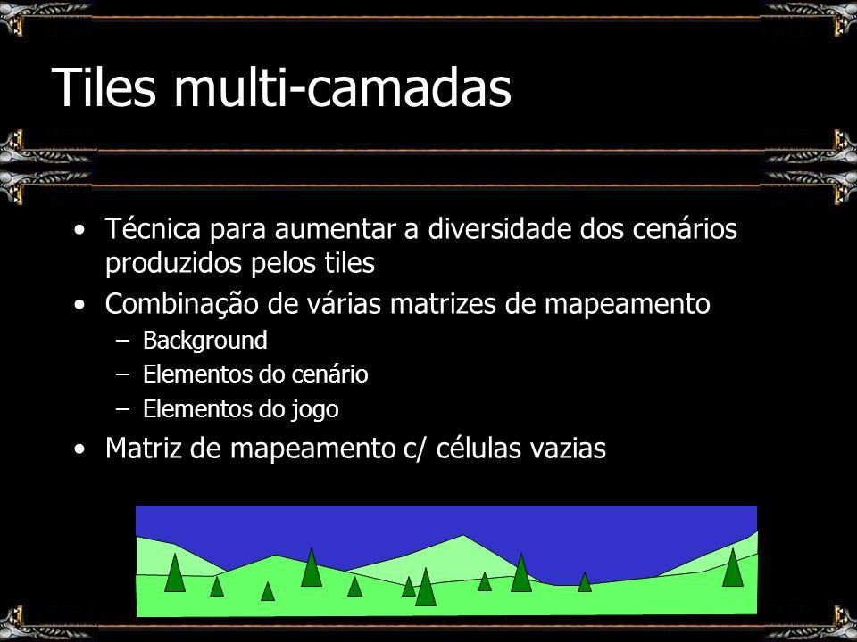 Tiles multi-camadas Técnica para aumentar a diversidade dos cenários produzidos pelos tiles Combinação de várias matrizes de mapeamento –Background –E