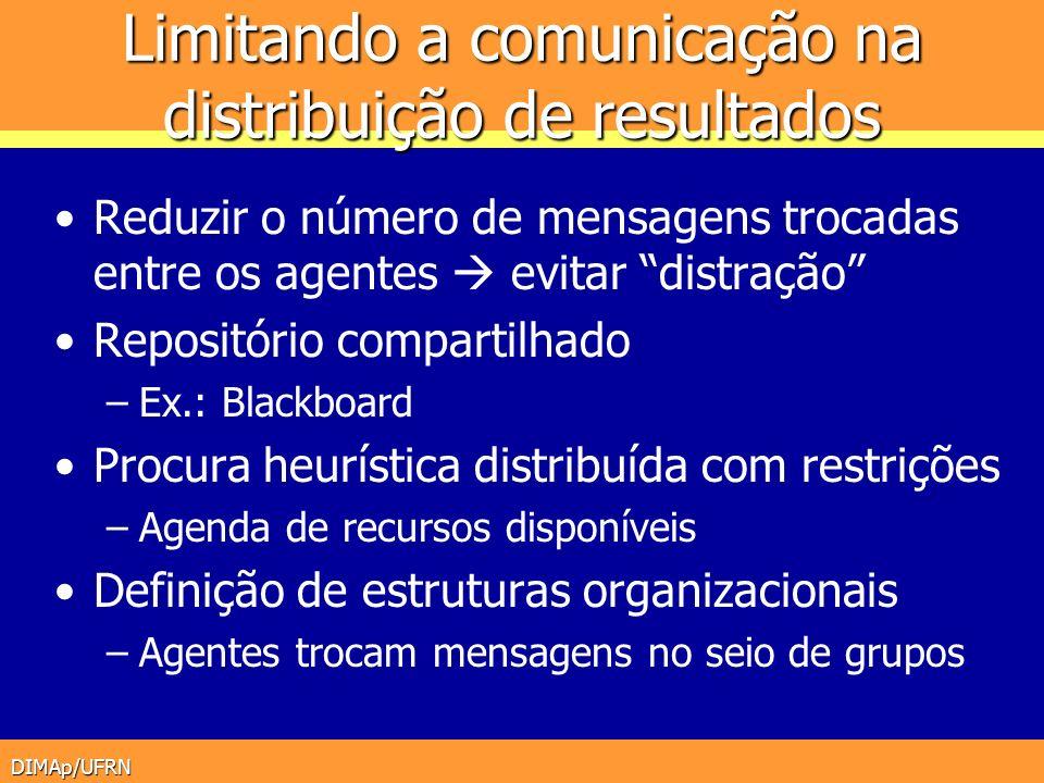 DIMAp/UFRN Limitando a comunicação na distribuição de resultados Reduzir o número de mensagens trocadas entre os agentes evitar distração Repositório