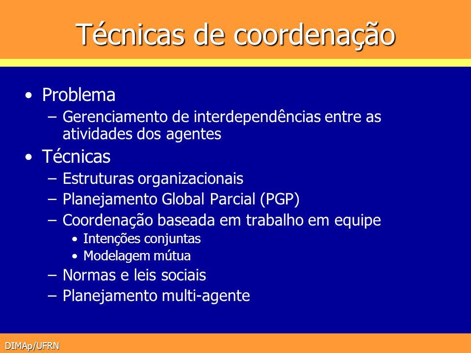 DIMAp/UFRN Técnicas de coordenação Problema –Gerenciamento de interdependências entre as atividades dos agentes Técnicas –Estruturas organizacionais –