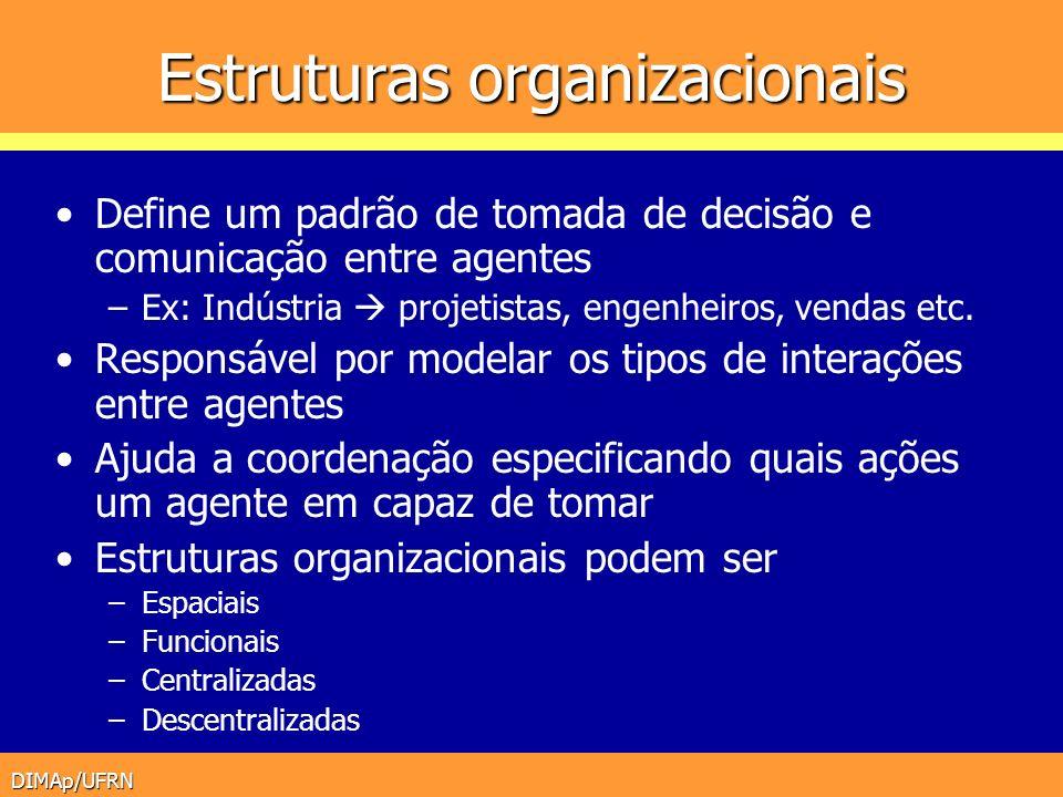 DIMAp/UFRN Estruturas organizacionais Define um padrão de tomada de decisão e comunicação entre agentes –Ex: Indústria projetistas, engenheiros, venda