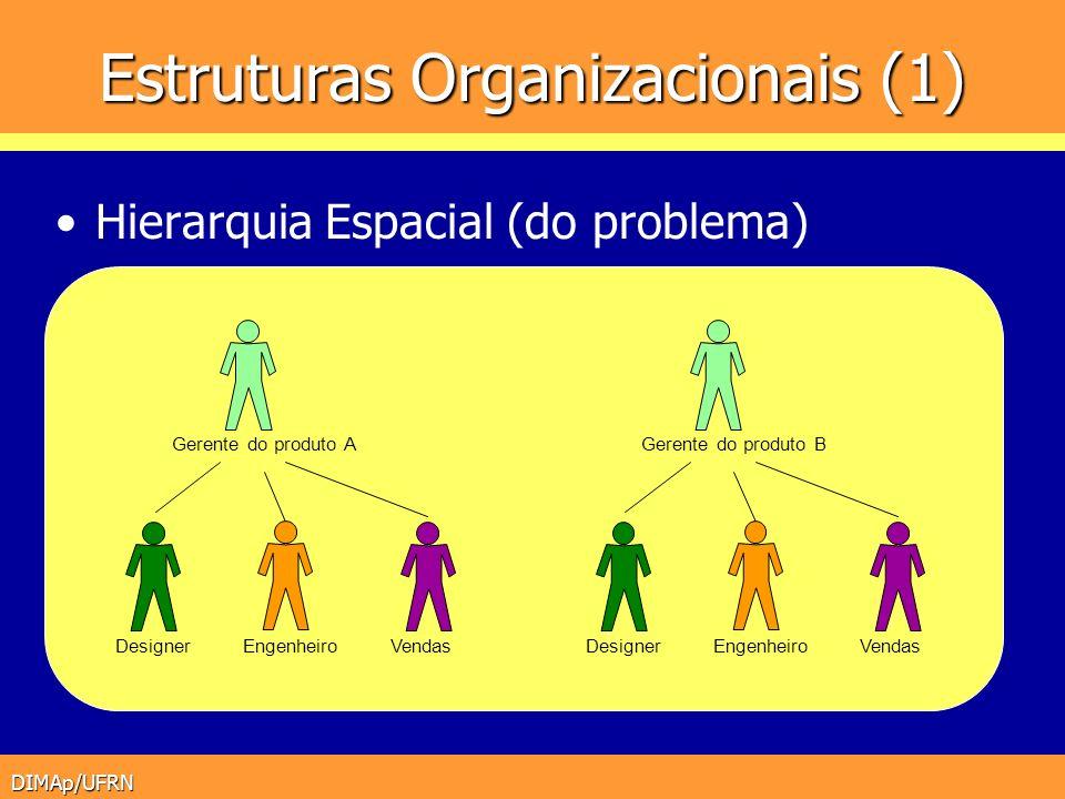 DIMAp/UFRN Estruturas Organizacionais (1) Hierarquia Espacial (do problema) Designer Gerente do produto A VendasEngenheiroDesigner Gerente do produto