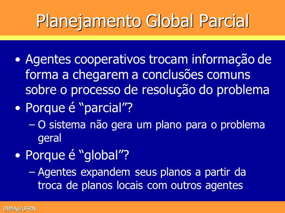 DIMAp/UFRN Planejamento Global Parcial Agentes cooperativos trocam informação de forma a chegarem a conclusões comuns sobre o processo de resolução do