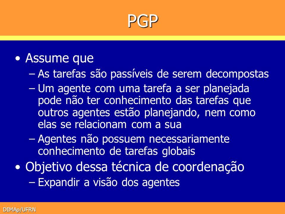 DIMAp/UFRN PGP Assume que –As tarefas são passíveis de serem decompostas –Um agente com uma tarefa a ser planejada pode não ter conhecimento das taref
