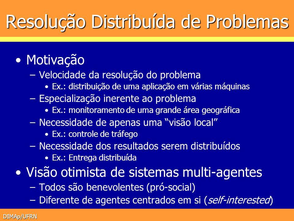 DIMAp/UFRN Resolução Distribuída de Problemas Motivação –Velocidade da resolução do problema Ex.: distribuição de uma aplicação em várias máquinas –Es