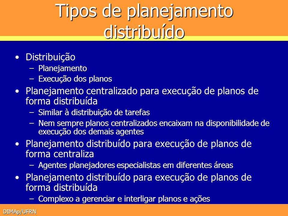 DIMAp/UFRN Tipos de planejamento distribuído Distribuição –Planejamento –Execução dos planos Planejamento centralizado para execução de planos de form