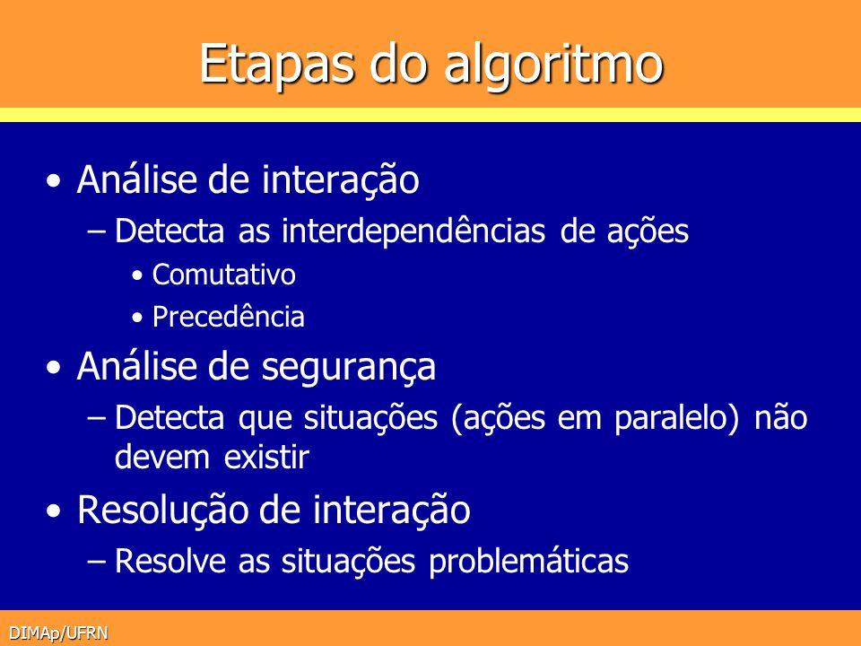 DIMAp/UFRN Etapas do algoritmo Análise de interação –Detecta as interdependências de ações Comutativo Precedência Análise de segurança –Detecta que si