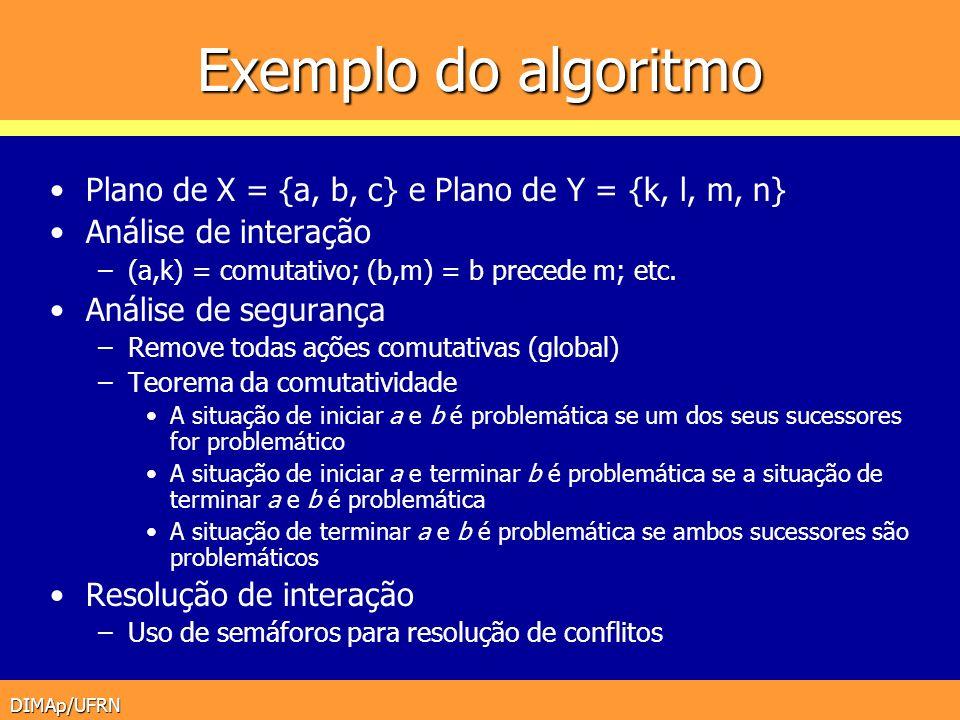 DIMAp/UFRN Exemplo do algoritmo Plano de X = {a, b, c} e Plano de Y = {k, l, m, n} Análise de interação –(a,k) = comutativo; (b,m) = b precede m; etc.