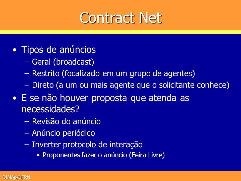 DIMAp/UFRN Contract Net Tipos de anúncios –Geral (broadcast) –Restrito (focalizado em um grupo de agentes) –Direto (a um ou mais agente que o solicita