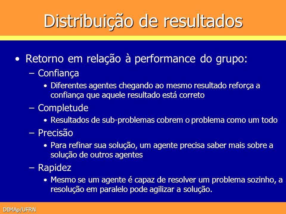 DIMAp/UFRN Distribuição de resultados Retorno em relação à performance do grupo: –Confiança Diferentes agentes chegando ao mesmo resultado reforça a c