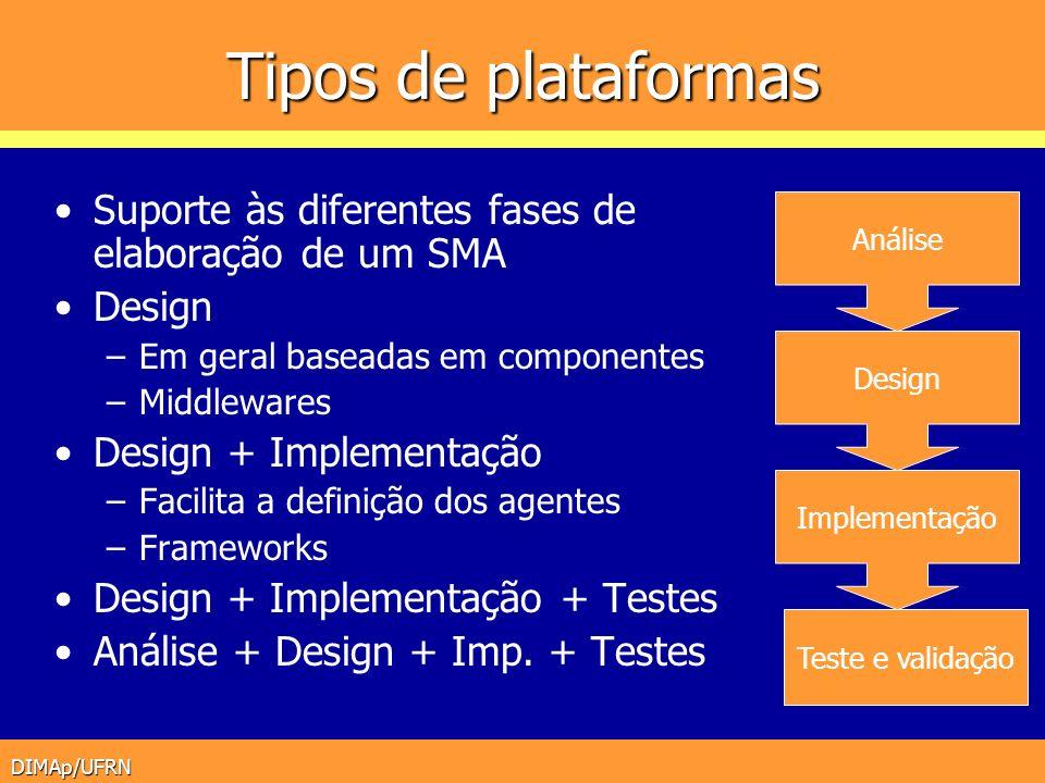 DIMAp/UFRN Tipos de plataformas Suporte às diferentes fases de elaboração de um SMA Design –Em geral baseadas em componentes –Middlewares Design + Imp