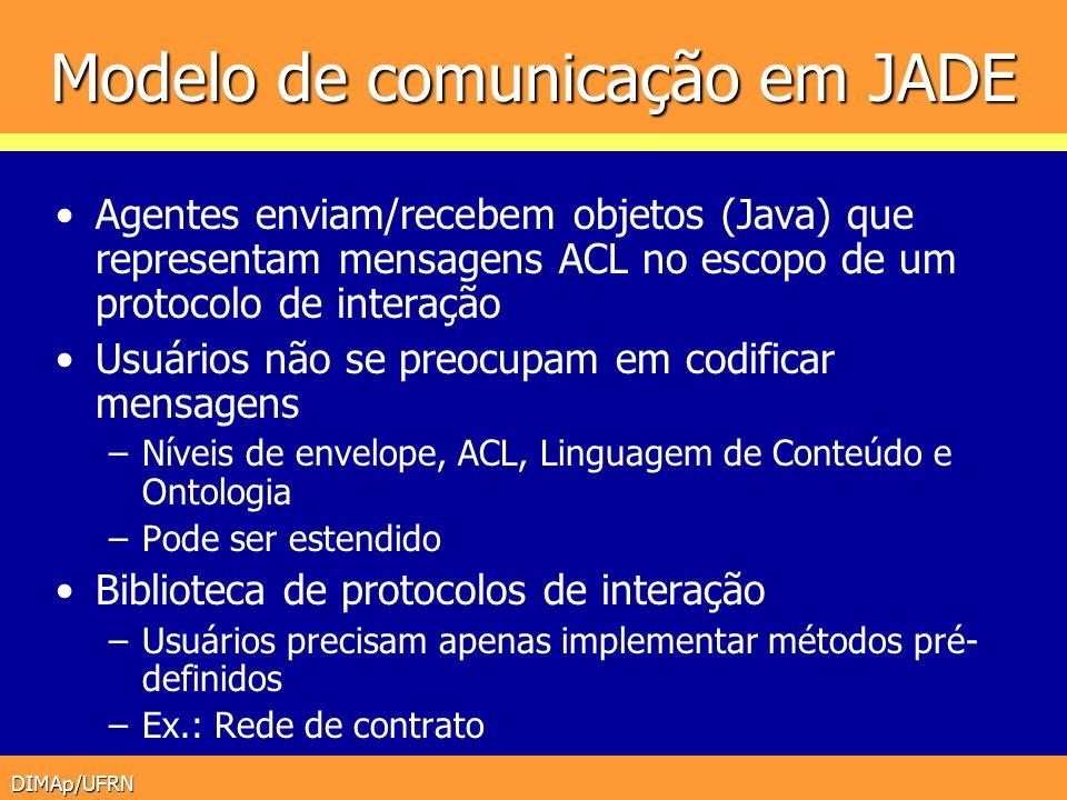 DIMAp/UFRN Modelo de comunicação em JADE Agentes enviam/recebem objetos (Java) que representam mensagens ACL no escopo de um protocolo de interação Us
