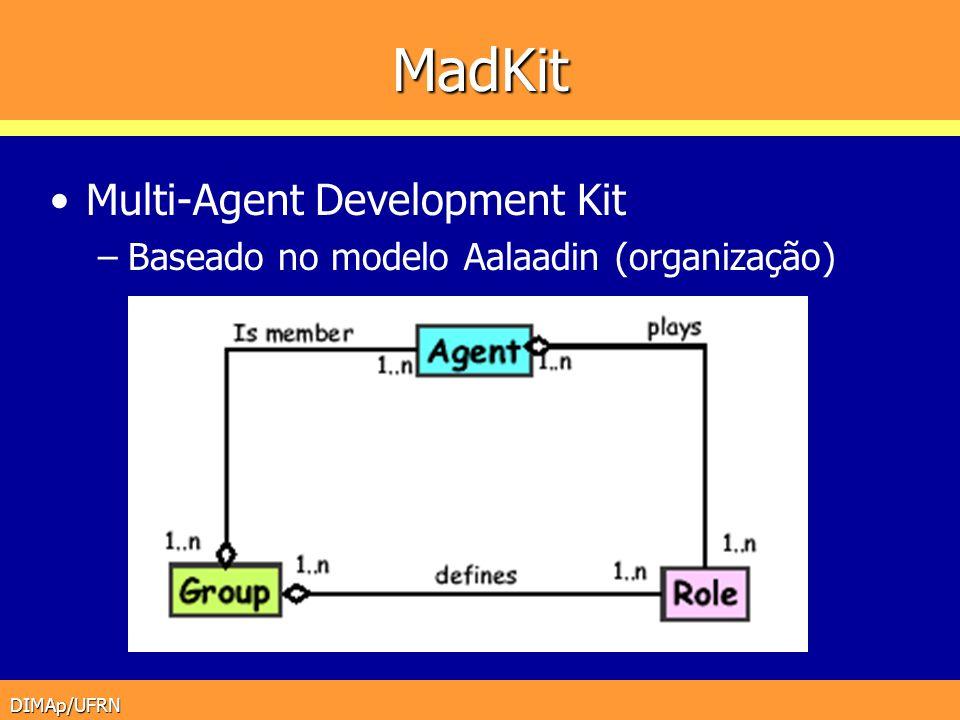 DIMAp/UFRN MadKit Multi-Agent Development Kit –Baseado no modelo Aalaadin (organização)