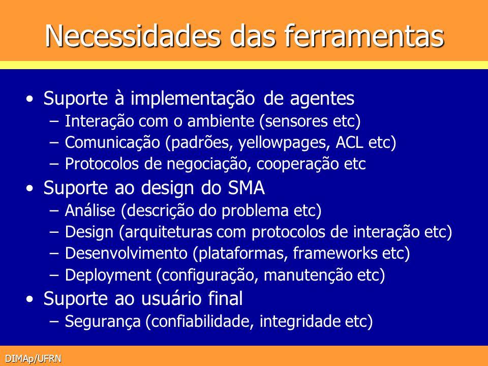 DIMAp/UFRN Necessidades das ferramentas Suporte à implementação de agentes –Interação com o ambiente (sensores etc) –Comunicação (padrões, yellowpages