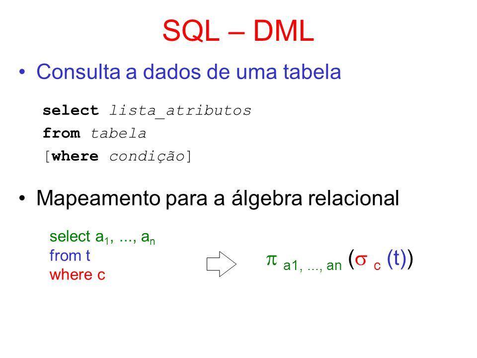 SQL – DML Consulta a dados de uma tabela select lista_atributos from tabela [where condição] Mapeamento para a álgebra relacional select a 1,..., a n
